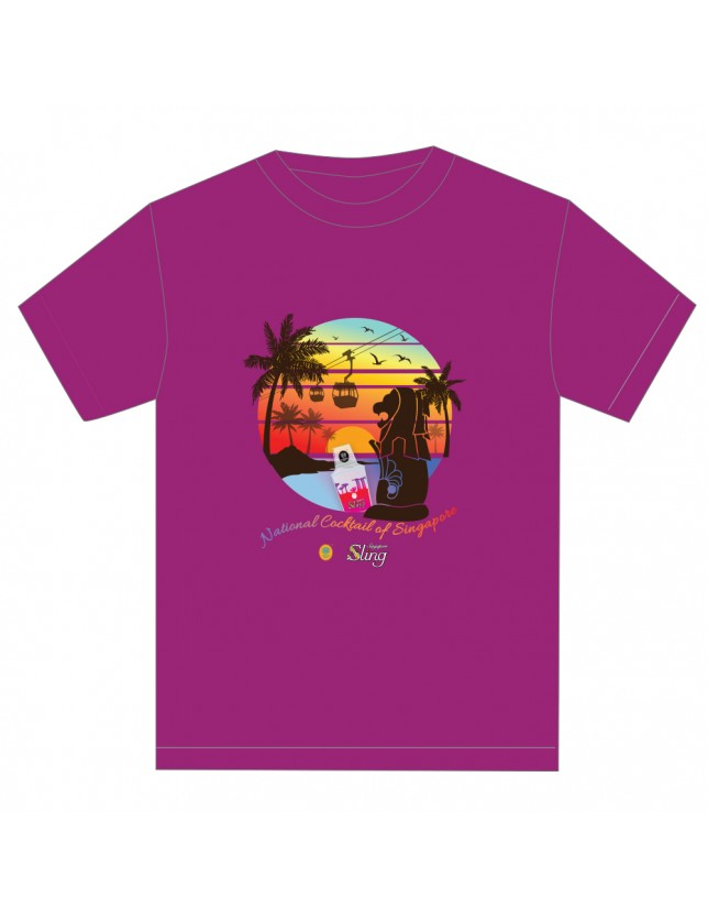 Merlion and Senset Tshirt_purple